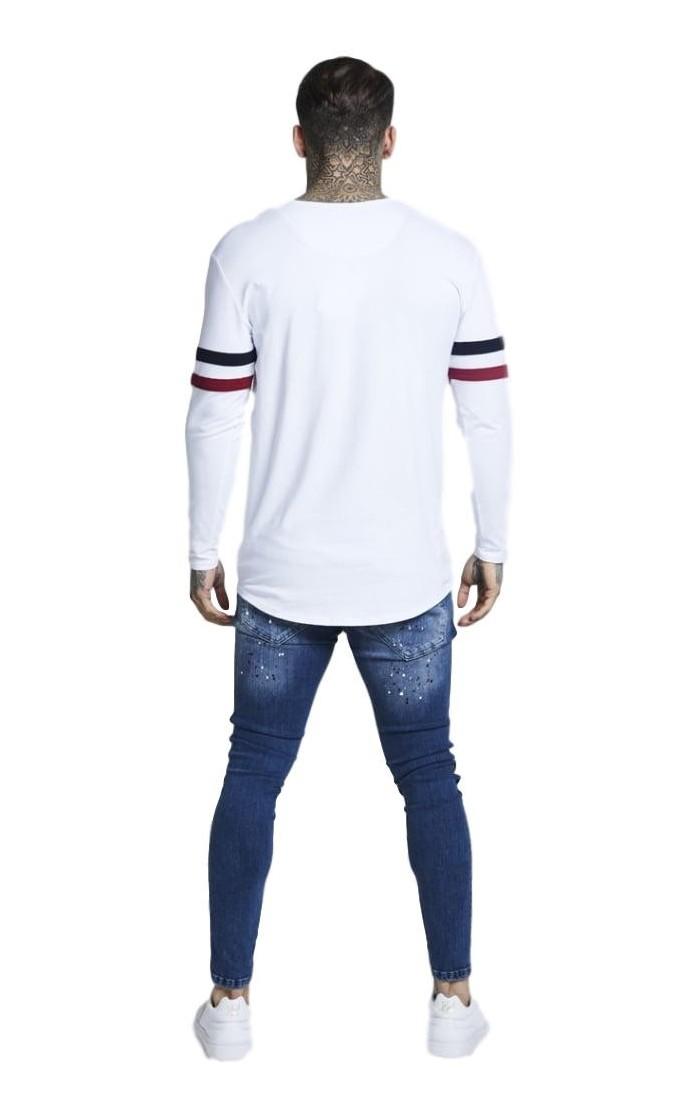 Camiseta De Tirantes GOOD FOR NOTHING En Blanco Linias Rojas