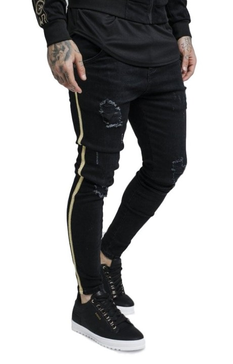 Cowboy pants SikSilk Knee Burst Black ribbon gold