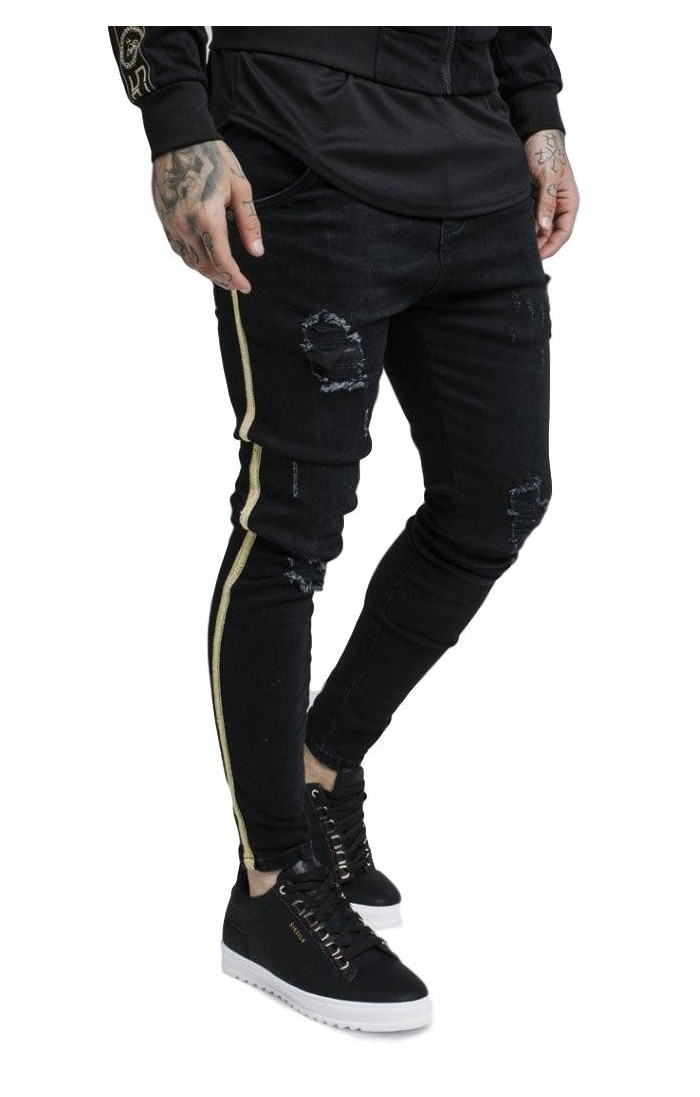 Pantalón Vaquero SikSilk Knee Burst Negro cinta oro