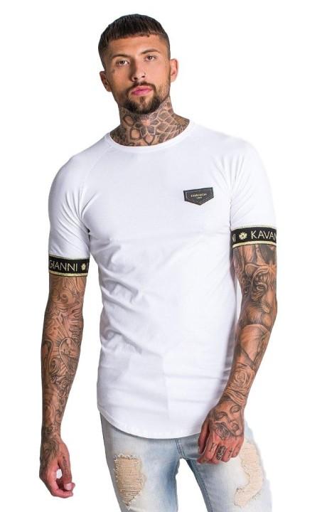 Camiseta Gianni Kavanagh blanca con elástico de Lurex oro