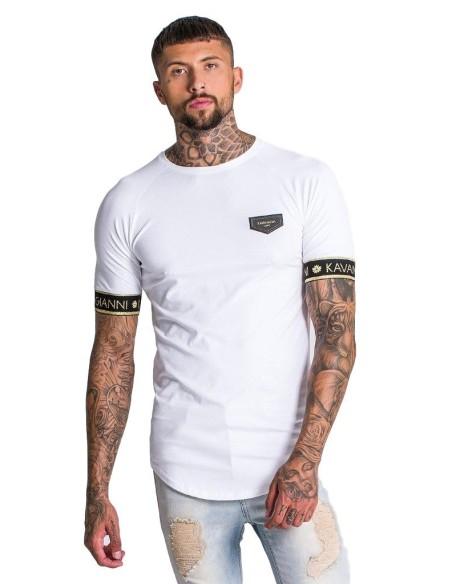 T-shirt Gianni Kavanagh blanc avec élastique à la Lurex or