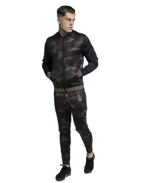 Chaqueta SikSilk Contraste Camo Negro
