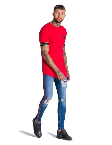 Camiseta Gianni Kavanagh rojo con elastico de Lurex oro