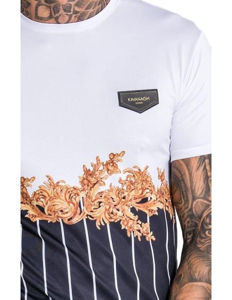 Camiseta Gianni Kavanagh Brocado blanca y rayas