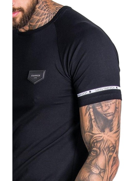 Camiseta Gianni Kavanagh Raglan negra con cinta Mini GK