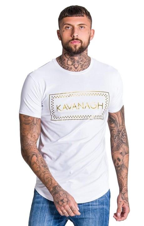 T-shirt Gianni Kavanagh blanc avec impression or Kavanagh