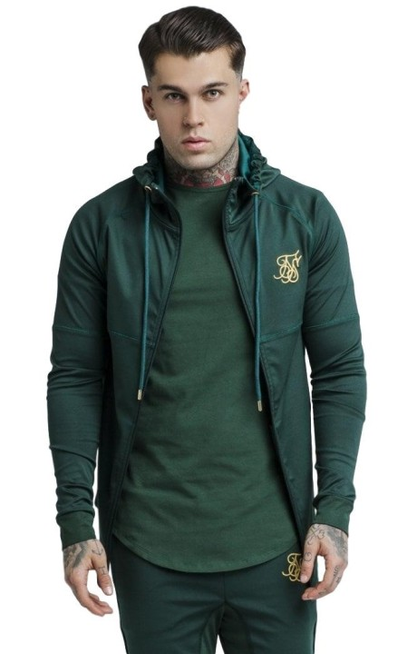 Sweat-shirt Siksilk zip sweat à capuche - Vert Riche