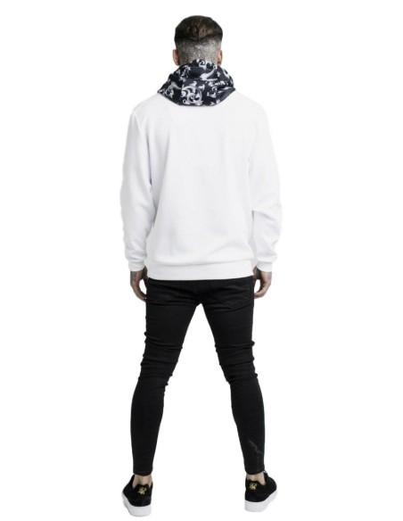 Sweatshirt SikSilk hoodie with Venetian Poly - White