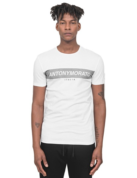 Pantalon Gianni Kavanagh blanc avec des détails de noir contraste
