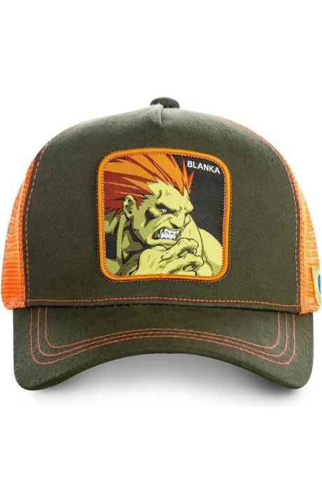 Gorra Capslab Blanka Street Fighter verde y naranja