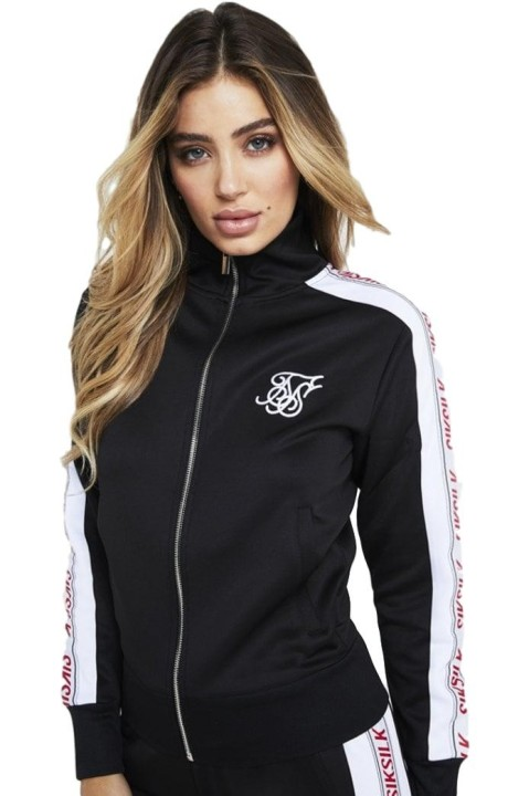 Jacket Tracksuit SikSilk Panel, 90 Black, White, and Red