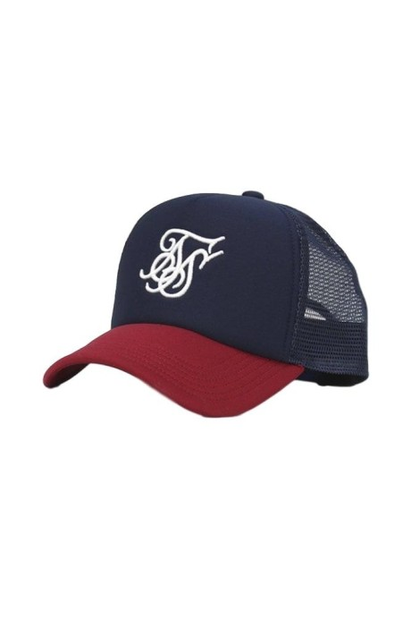 Cap SikSilk Crown arched Red and Navy Blue