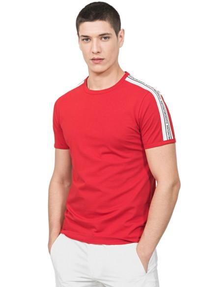 Camiseta Gianni Kavanagh negra con elástico de Lurex oro
