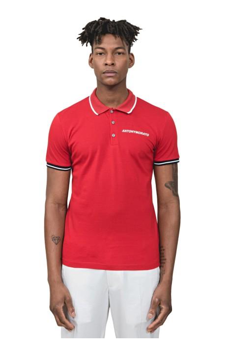 Polo Antony Morato Rojo Con Logo En Relieve