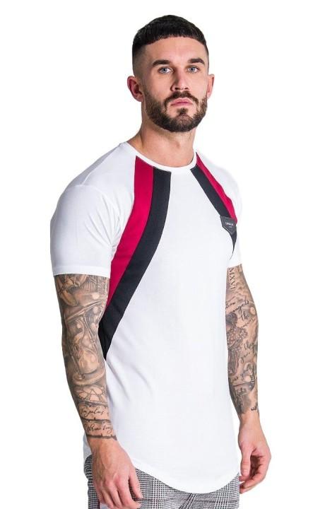 Camiseta Gianni Kavanagh Blanca con Rayas Negro y Burdeos
