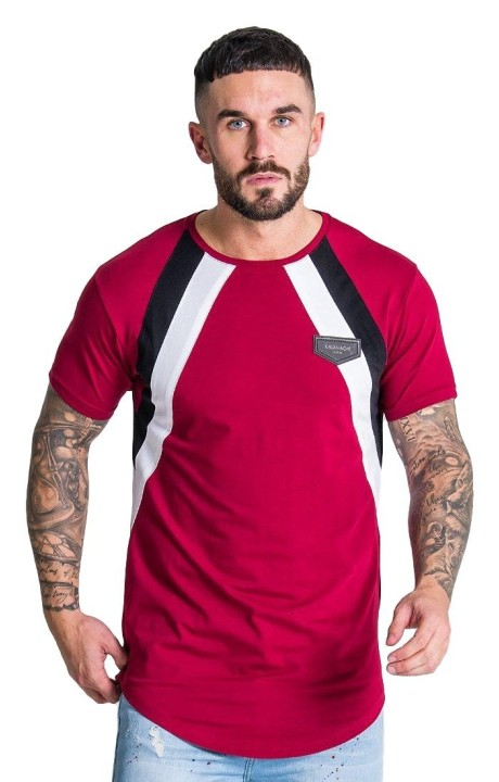 T-Shirt Gianni Kavanagh Of Burgundy With Parallel Lines In Black-And-White