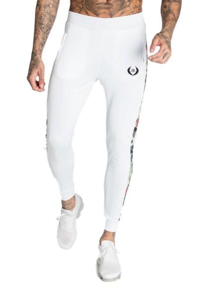 Pantalón de Chandal Roone Roman Blanco con cinta Tropical