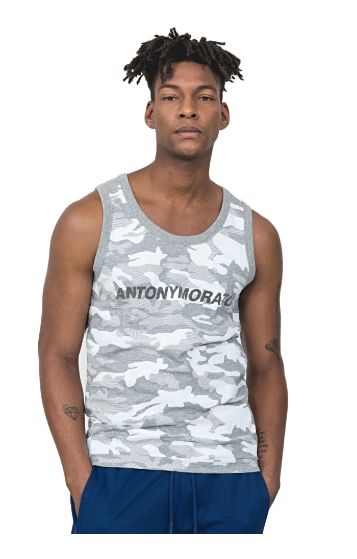 Camiseta de Tirantes Antony Morato Camuflaje con estampado logo