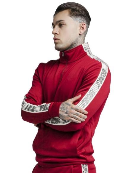 Chaqueta SikSilk Quarter Zip Runner Top Rojo