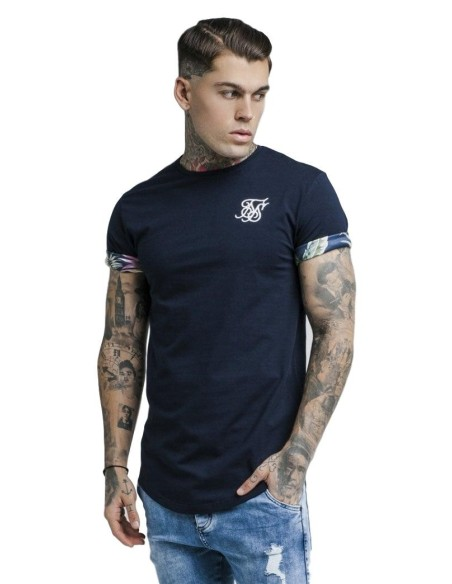 Camiseta SikSilk Jeremy mangas enrolladas Navy