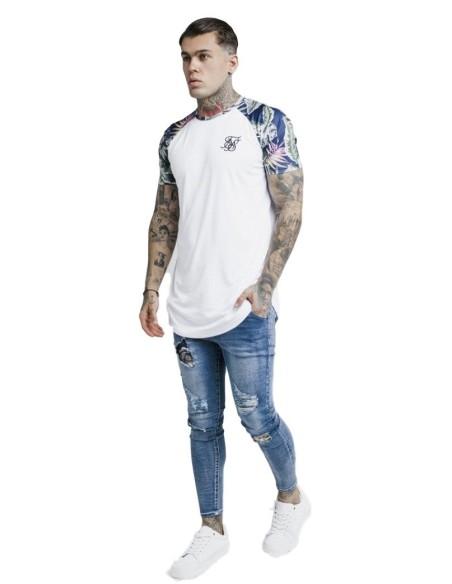 Camiseta SikSilk Jeremy dobladillo Raglán Blanco