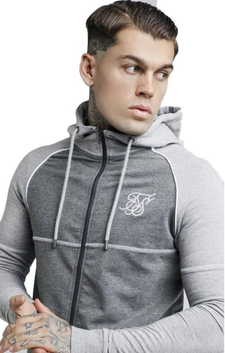 Sweatshirt with Hood SikSilk Phoenix Grey
