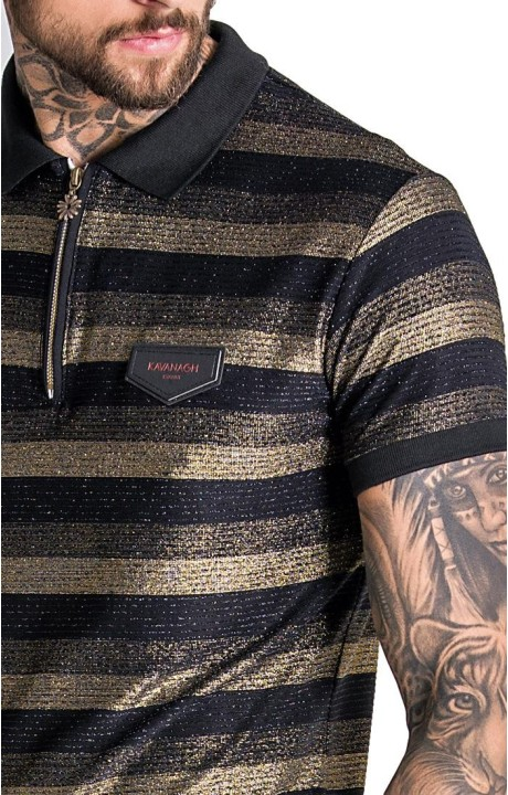 T-shirt Gianni Kavanagh bandes noires avec le logo de broderie