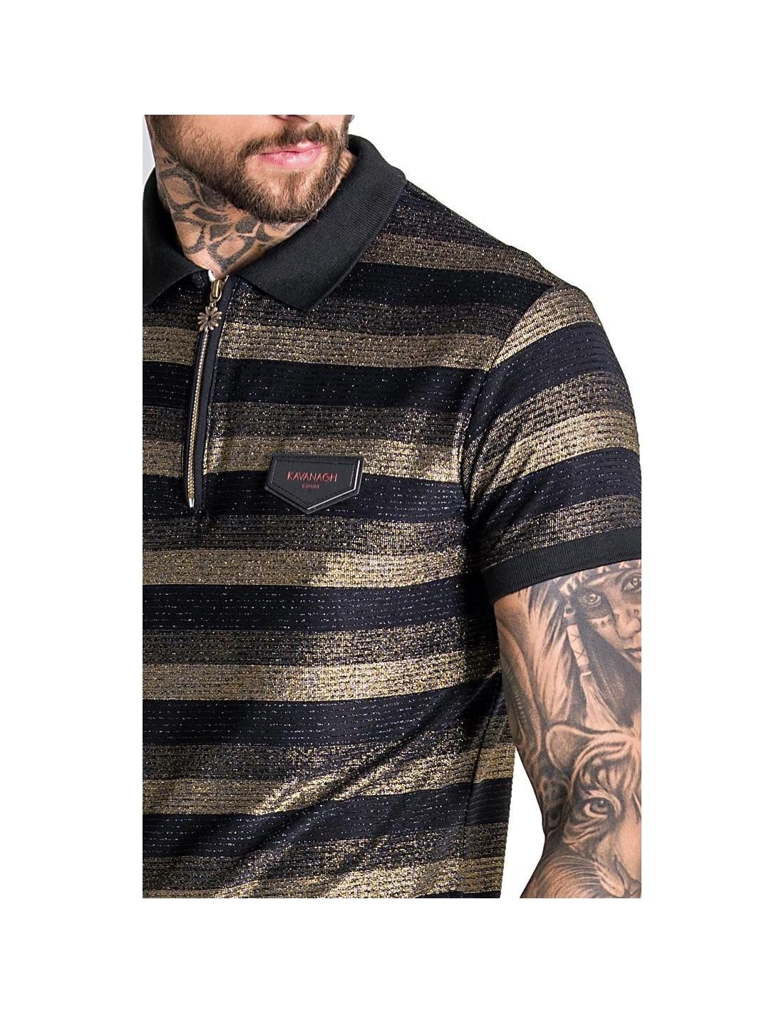 Camiseta Gianni Kavanagh negra rayas con logo bordado