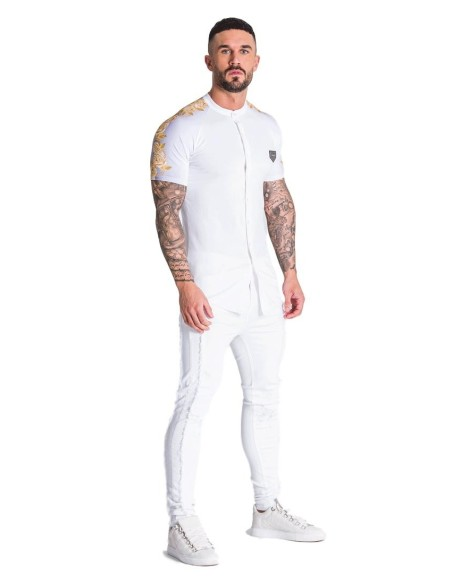 Sweatshirt SikSilk hoodie with Venetian Poly - White