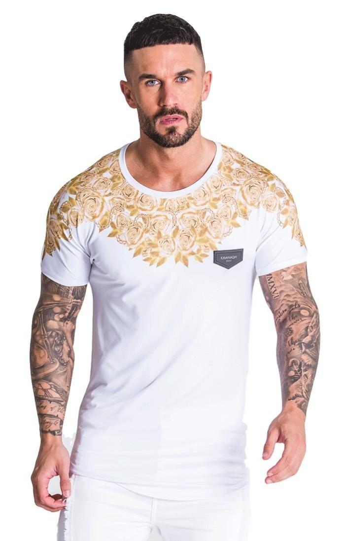 Camiseta Gianni Kavanagh Opulencia Blanco y Oro