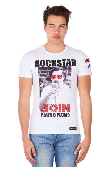 T-Shirt Drich Rockstar Motif Blanc