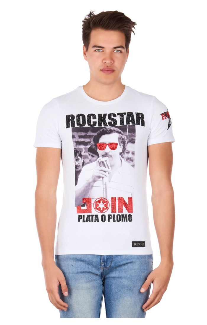 Camiseta Drich Rockstar Patron Blanca