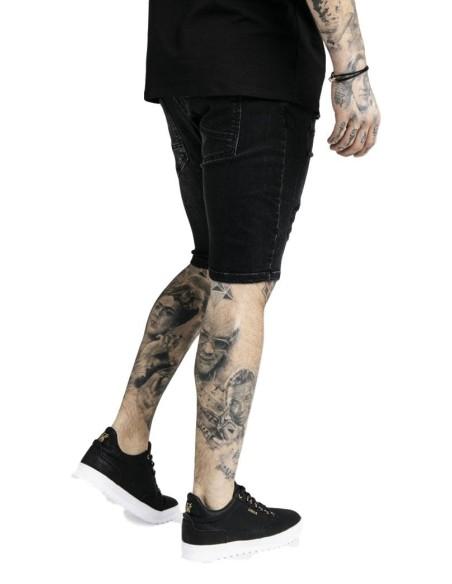 Jeans Court SikSilk En Détresse Skinny Noir