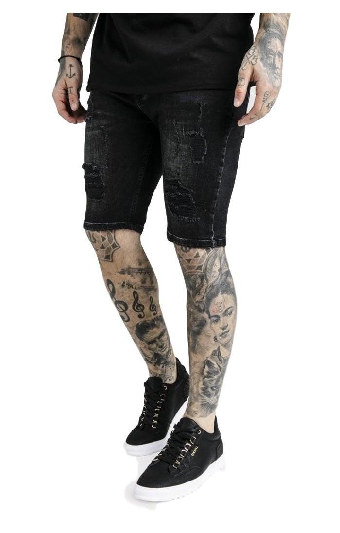 Jeans Corto SikSilk Distressed Skinny Negro
