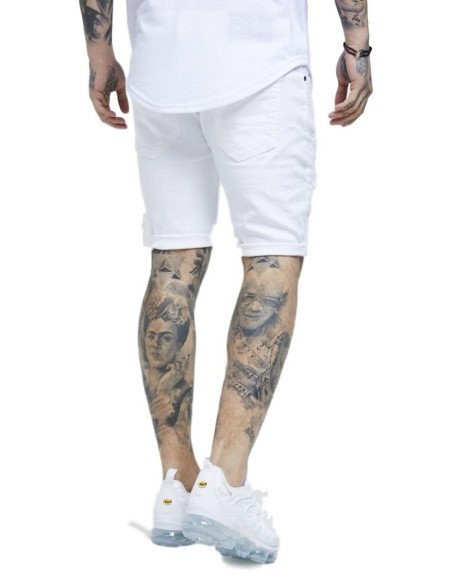 Jeans Corto SikSilk Distressed Skinny Blanco