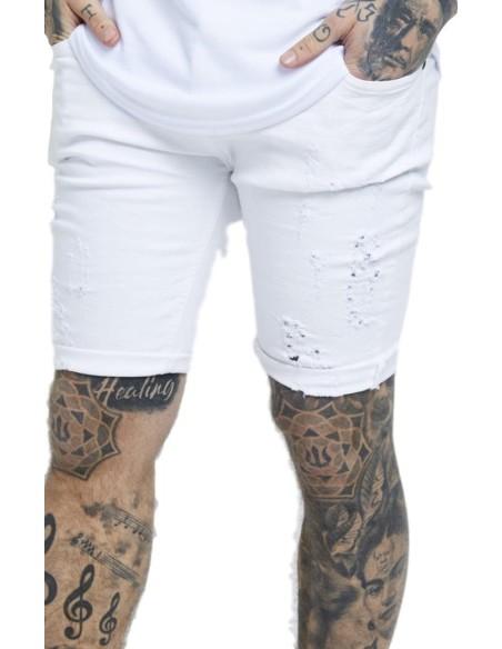 Jeans Short SikSilk Distressed Skinny White
