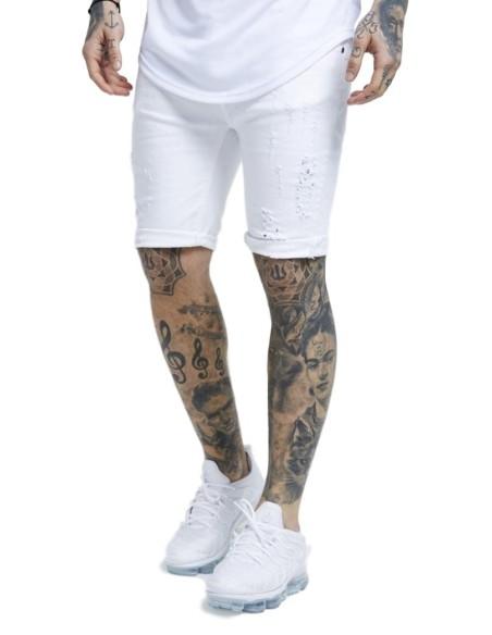 Jeans Court SikSilk En Détresse Skinny Blanc