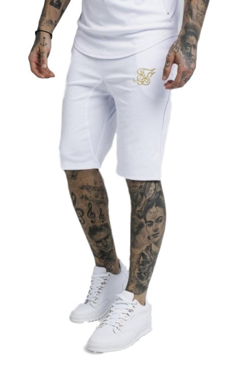 Pantalon Court SikSilk logo Blanc et Or