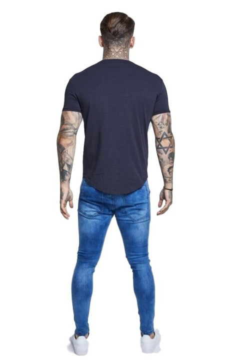 Camiseta SikSilk Raglan Reflect Tee - Antracita