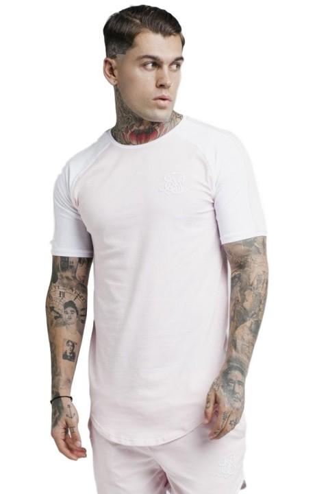 Shirt By SikSilk Raglan Contrast Ringer Light Pink