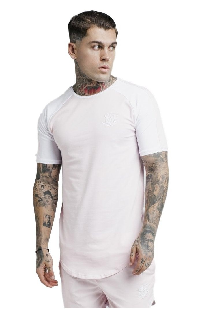 Camiseta SikSilk Raglan Contraste Ringer Rosa Claro