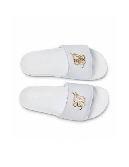 Flip flops SikSilk Rome Lux Blanc avec le Logo d'Or