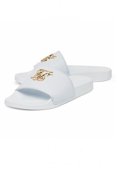 Chanclas SikSilk Roma Lux Blanco con Logo Dorado