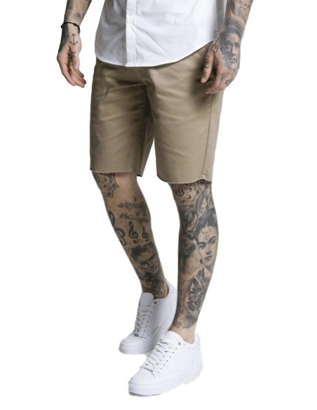SikSilk Taped Contrast Cuff Tee - White