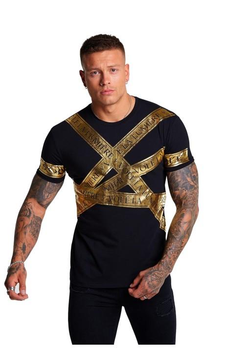 T-shirt j'ai Volé La Lumière Noire Dispersés ruban d'Or