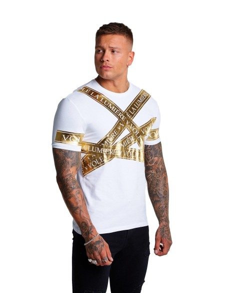Camiseta Volé La Lumière Blanca Scattered cinta Oro