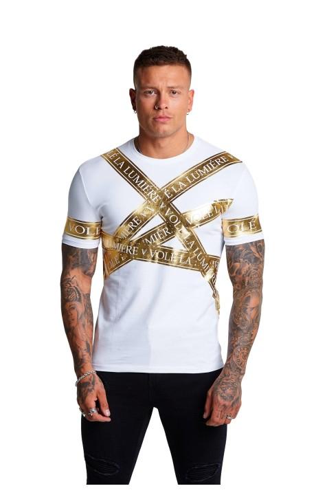 T-shirt j'ai Volé La Lumière Blanche Dispersés ruban d'Or