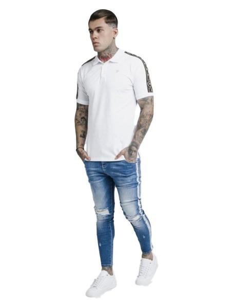 Camiseta Gianni Kavanagh rosa claro y blanca con rayas