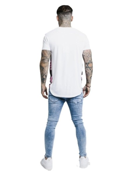 Camiseta SikSilk con Pintura Óleo Gym Blanco
