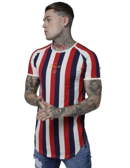 Camiseta SikSilk Raglán de Rayas Rotativas Rojo y Marino/Blanco